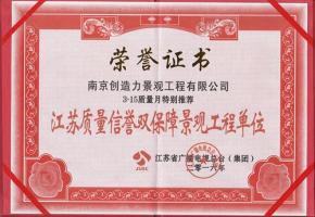 江苏质量信誉双保障单位